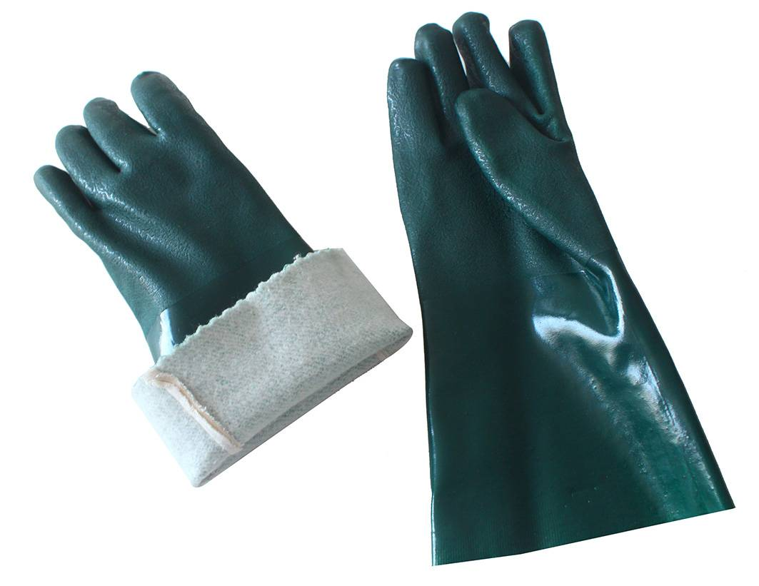 35cm green sandy finished PVC working safety gloves