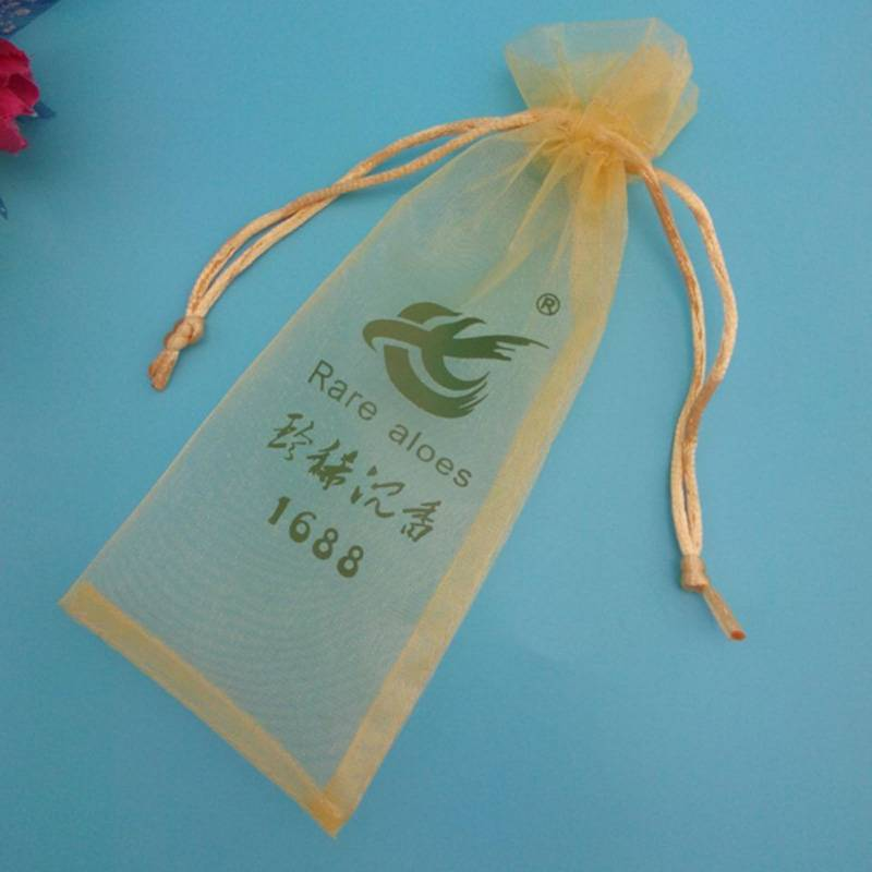 gold color organza drawstring jewelry pouch