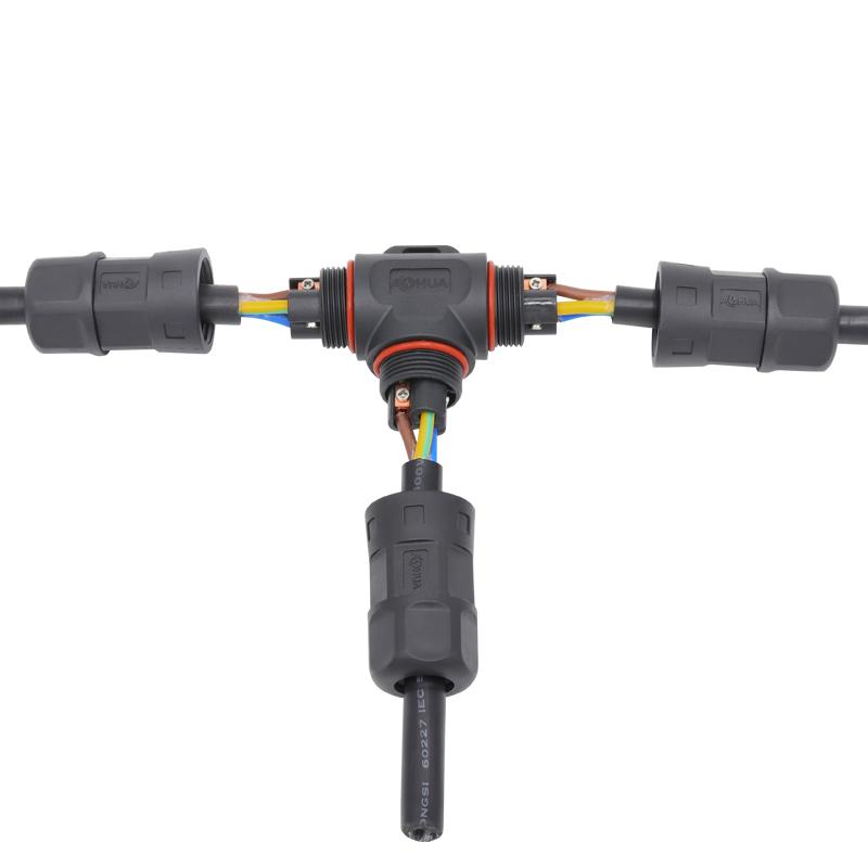 electrical wire 3 way IP67 waterproof connector