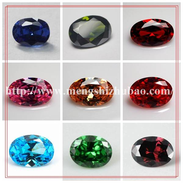 brilliant color loose gemstone oval shape stone CZ cubic zirconia rings