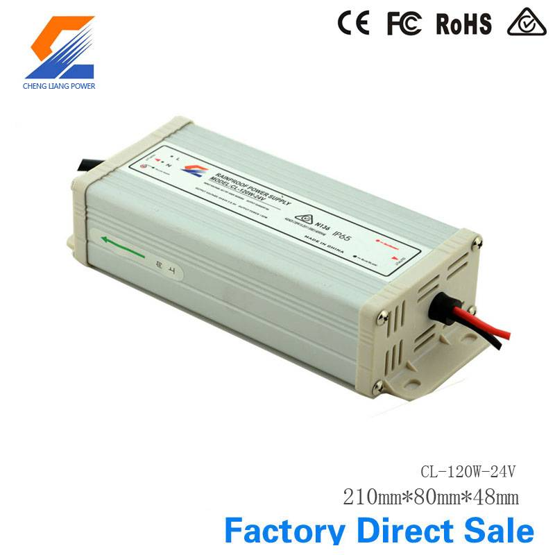 IP65 120W 24V Rainproof LED Power Supply With CE RoHS FCC