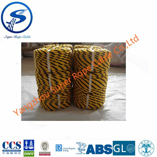 PE Tiger Rope,3 strand  Polypropylene tiger rope,Black and Yellow Tiger rope, Tiger cord,twisted rop