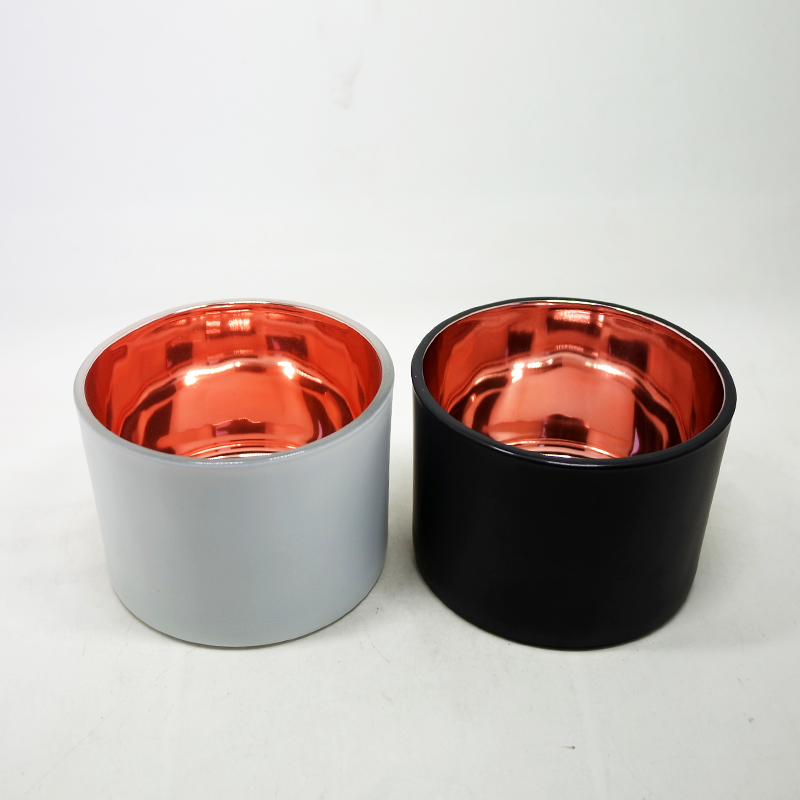 promotional gifts flat electroplated glass candle container for home decoration