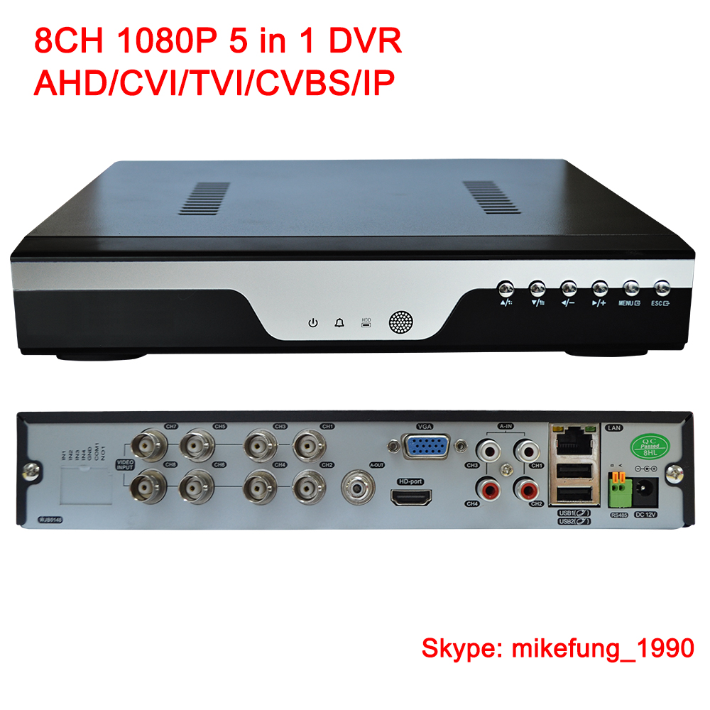 H.264 8 Channel 1080P Video Recorder Support AHD CVI TVI Analog IP Security Cameras 5 in 1 DVR
