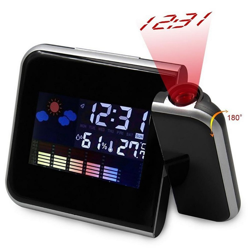 Digital Projector Alarm Clock LED Electronic Weather Thermometer Calendar