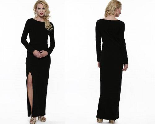 Womens long black maxi dress with side slit