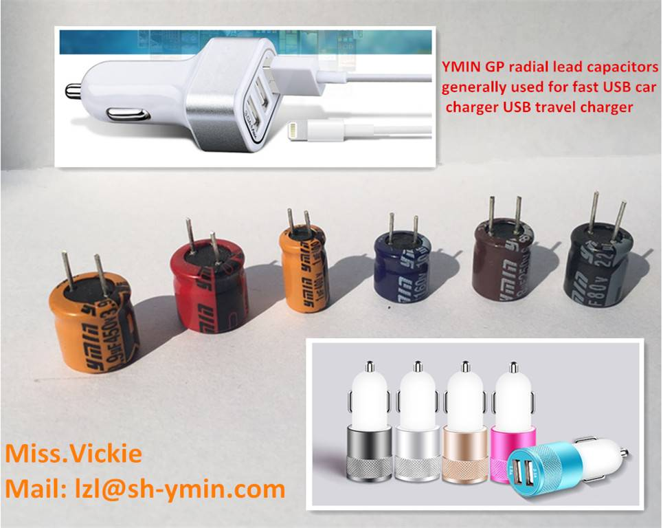 GP series radial lead aluminum electrolytic capacitor special for portable dual  USB charger