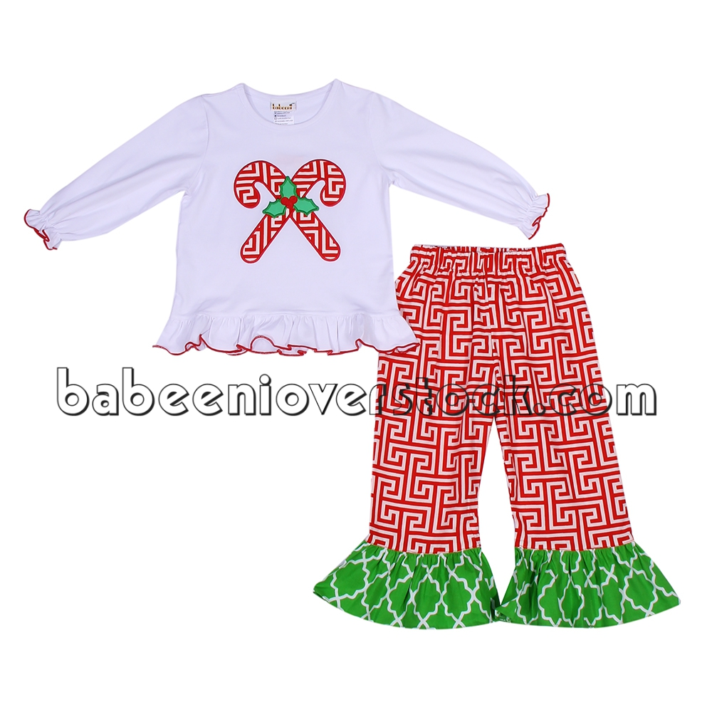 Beautiful X-mas candy appliqued set for baby girls - BB843