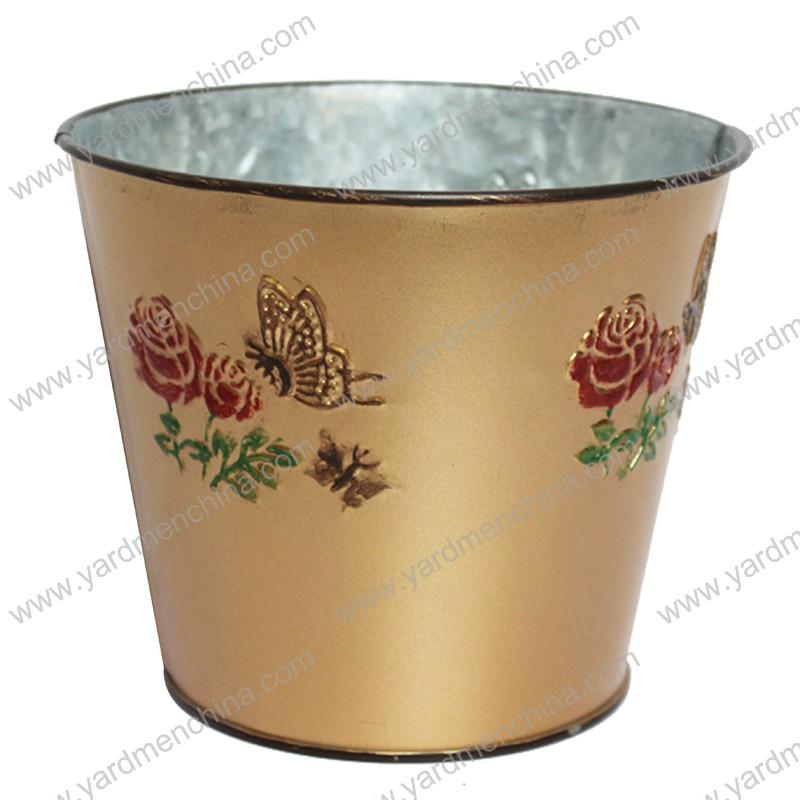 Copper finish metal flower pot planter
