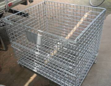 folded storage wire mesh container