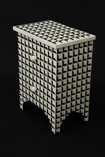 Horn And Bone Inlay 2 Drawer Bedside Cabinet