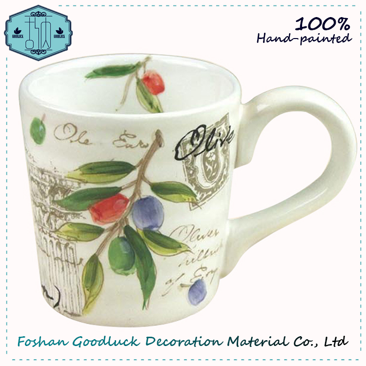 Hand Painted Ceramic Olive Leaf Eco Sublimation Drink Cup