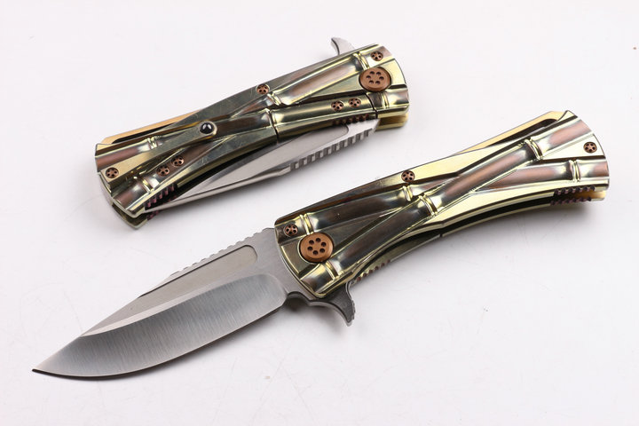 Quality D2 Folding Knife Pocket Knife titanium alloy Handle Knife