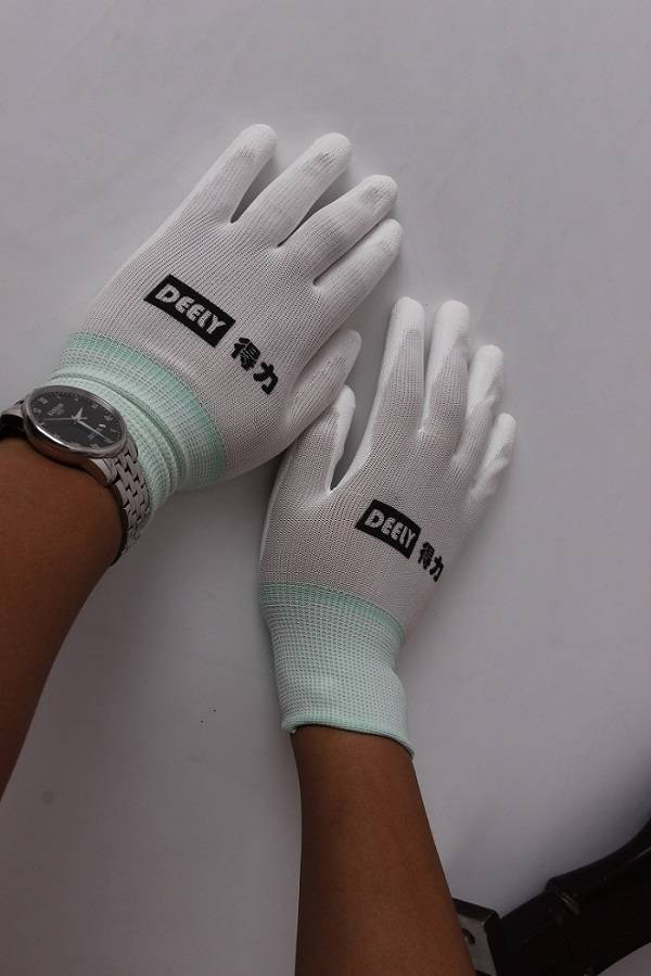 high quality safetyPU gloves with different colors coated on palm,china supplier /best selling popul