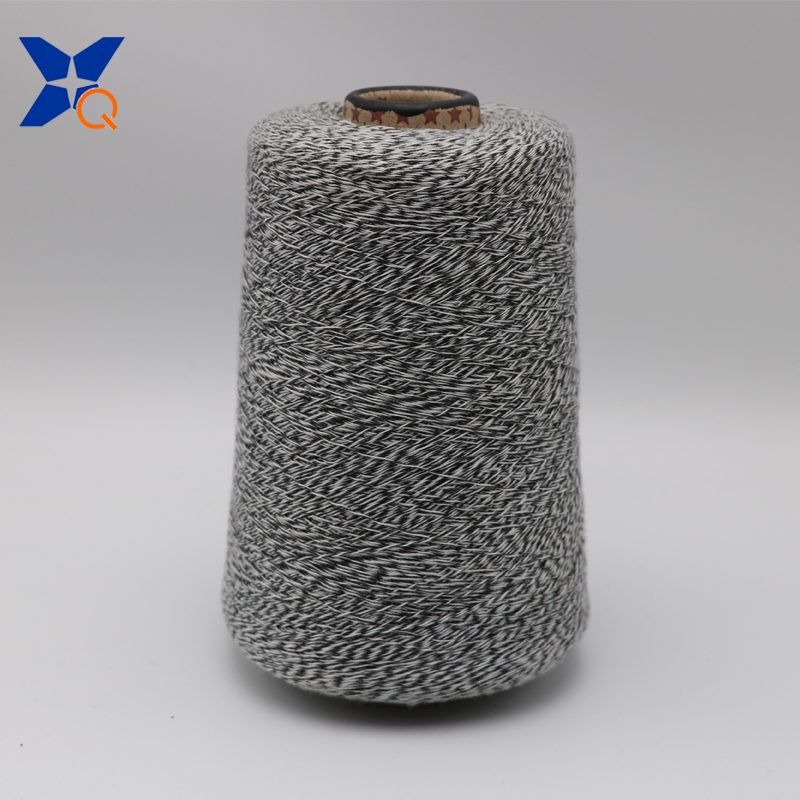 XT11166 Ne16/1 metal fiber 5%-polyester fiber 95% twist with Ne32/2 black rayon/viscose fiber yarn