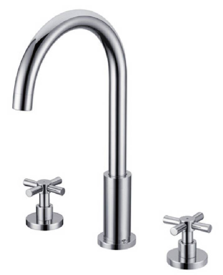 Contemporary chrome brass deck mounted bathroom basin faucet