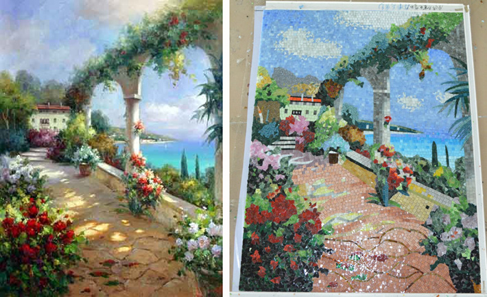 ZF-JH011 oil painting, landscape oil painting 100% by hand to be cut become art glass mosaic murals