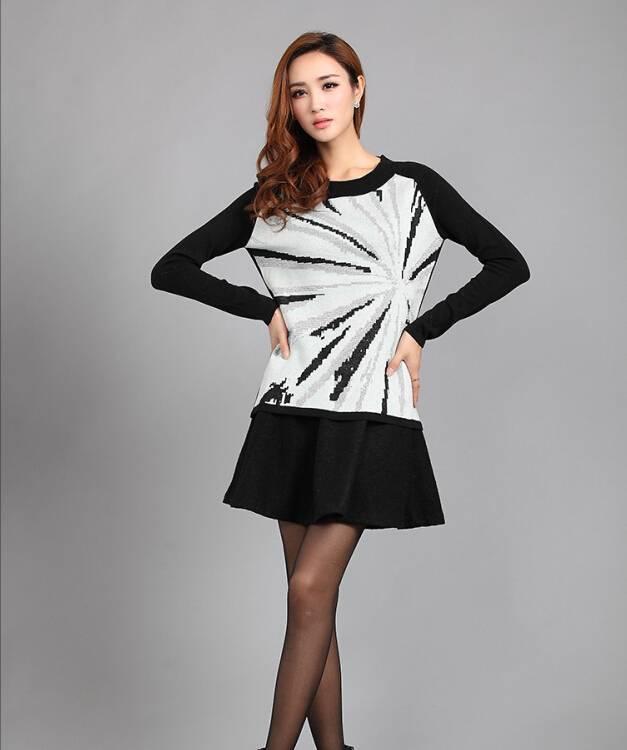 2015 New Design Fashion ladies Round Neck 100% cotton knit Pullover sweatesr pattern