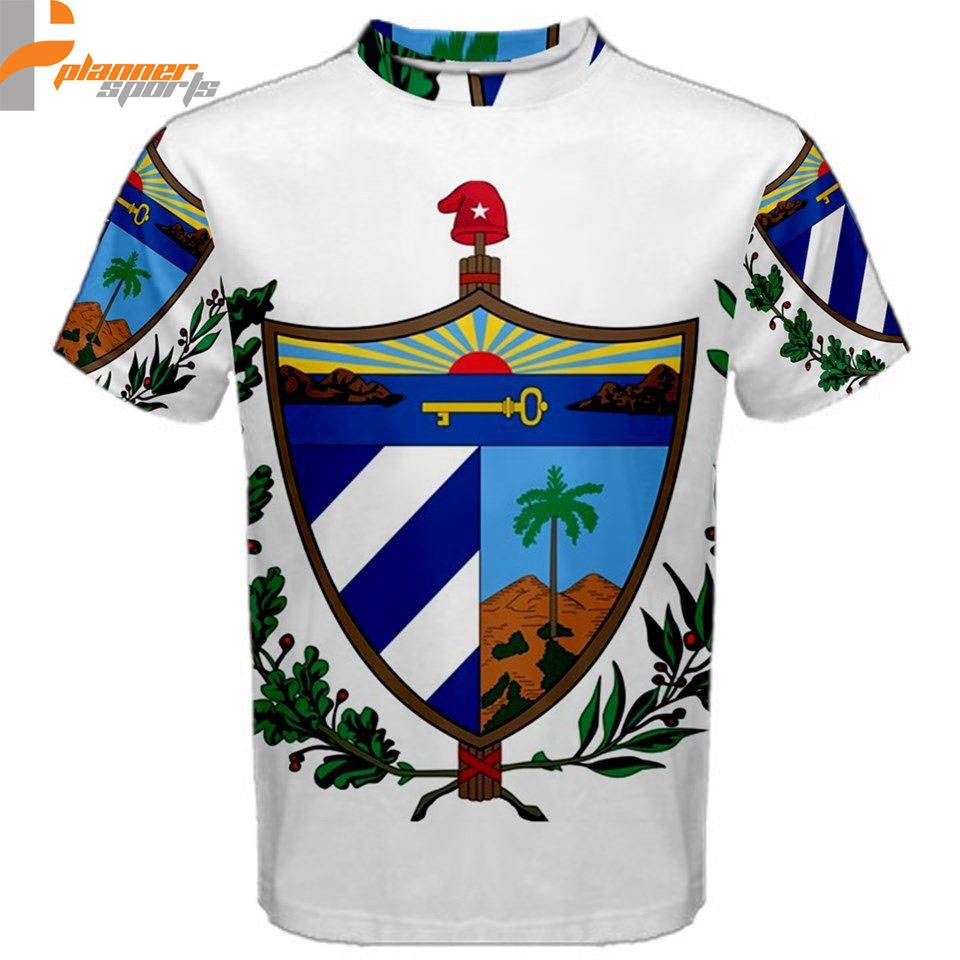 Cuba Cuban Coat or Arms Sublimated Sublimation Men's T-Shirt S,M,L,XL,2XL,3XL