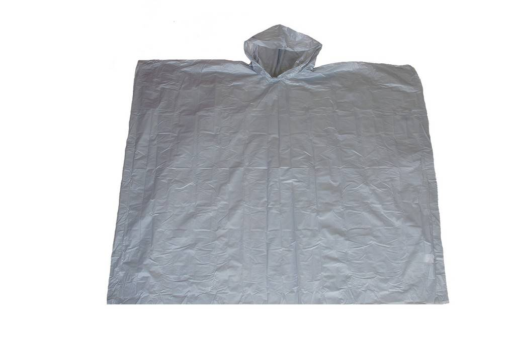 R-1020A-PEVA-03 SILVER PEVA DISPOSABLE RAIN PONCHOS FOR MEN