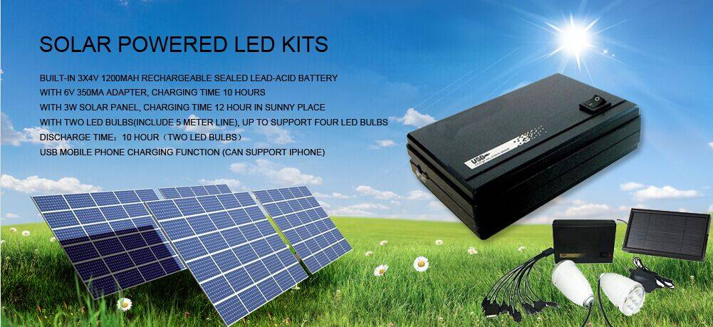 Solar Powered Led Light 3W LED Bulbs External Battery Power Bank Solar Energy Recharge USB Combo Cha