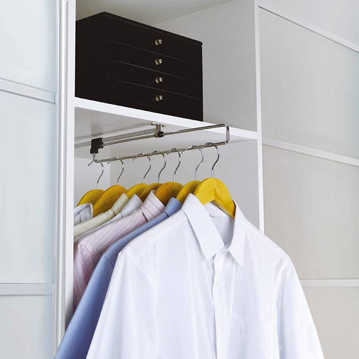 Pull out wardrobe rail