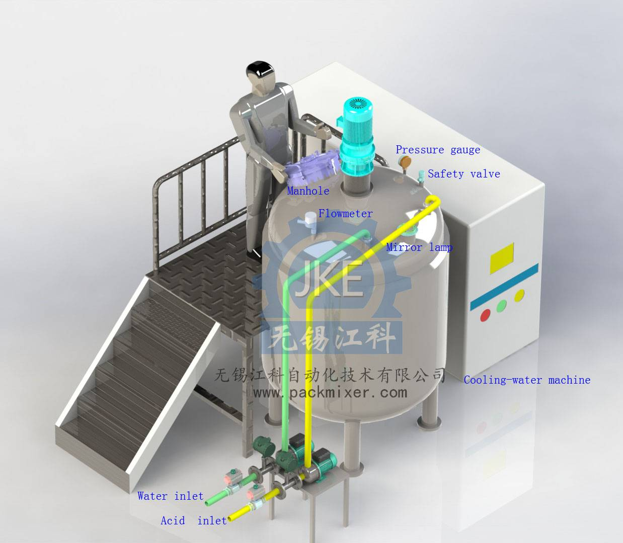 MT Heating Double Jacketed Cosmetic or Shampoo Stainless Steel Mixing Tank