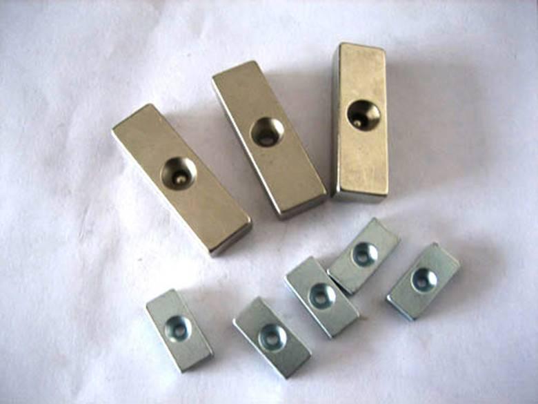 Permanent NdFeB/Neodymium Strip Magnet with Cuntersunk Hole