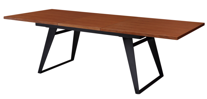 Hot selling extentional dining table with walnut solid wood top steel leg in China
