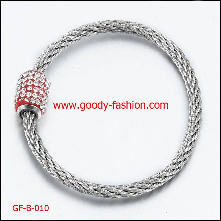 stainless steel bracelet with Diamond clasp