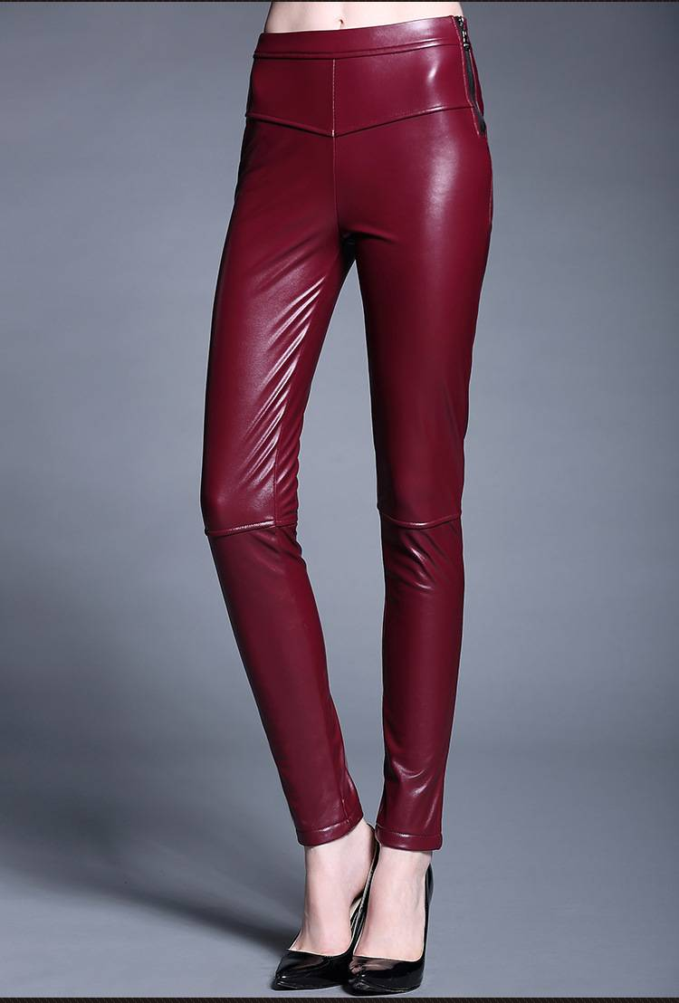 2015 new winter PU leather all around good quality stitching leather pants