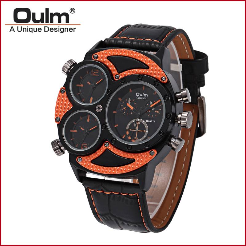 Oulm new arrivel 3 time zone wrist watches