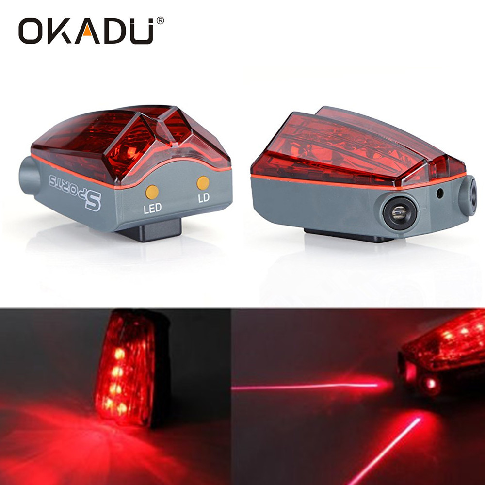 OKADU BL55 5 Red LED+2 Red Laser Bicycler Tail Warning Lights LED Laser Rear Bike Light