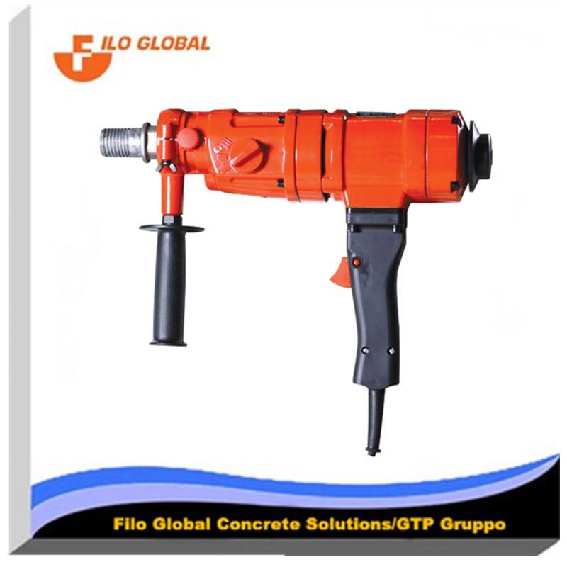 Hand held wet core drill with three speed