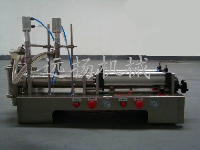 semi-automatic double head pneumatic bottle filling machine