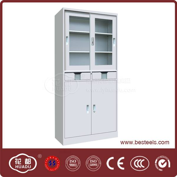 Henan biggest producer top brand product 2 drawer glass door metal cabinet on sale