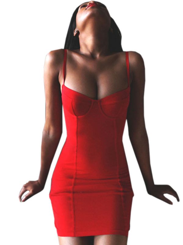 New Fashion Women Sexy Sleeveless Bodycon Red Black Mini Dress