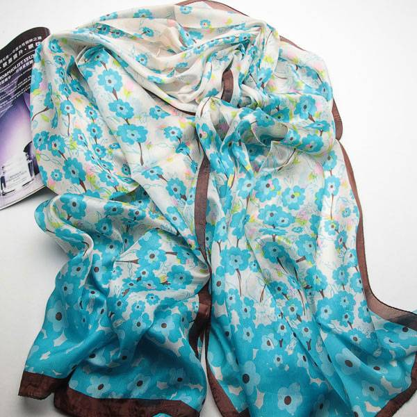 fashion long flower silk designer scarves for women