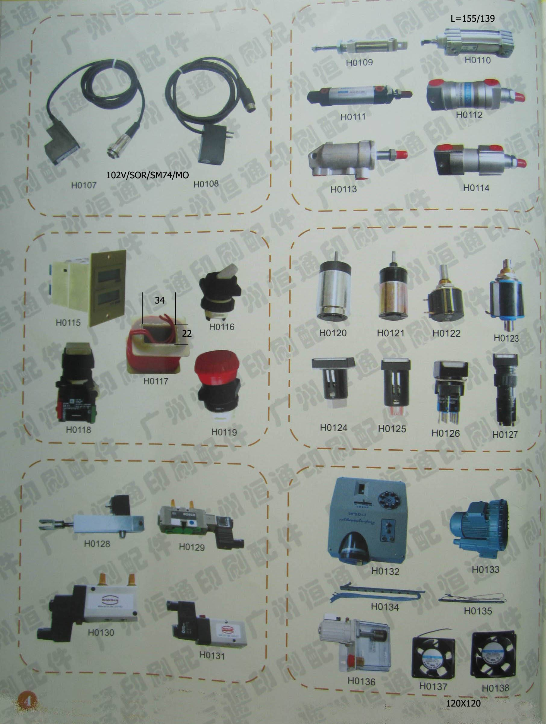 Types of heidelberg printer spare parts