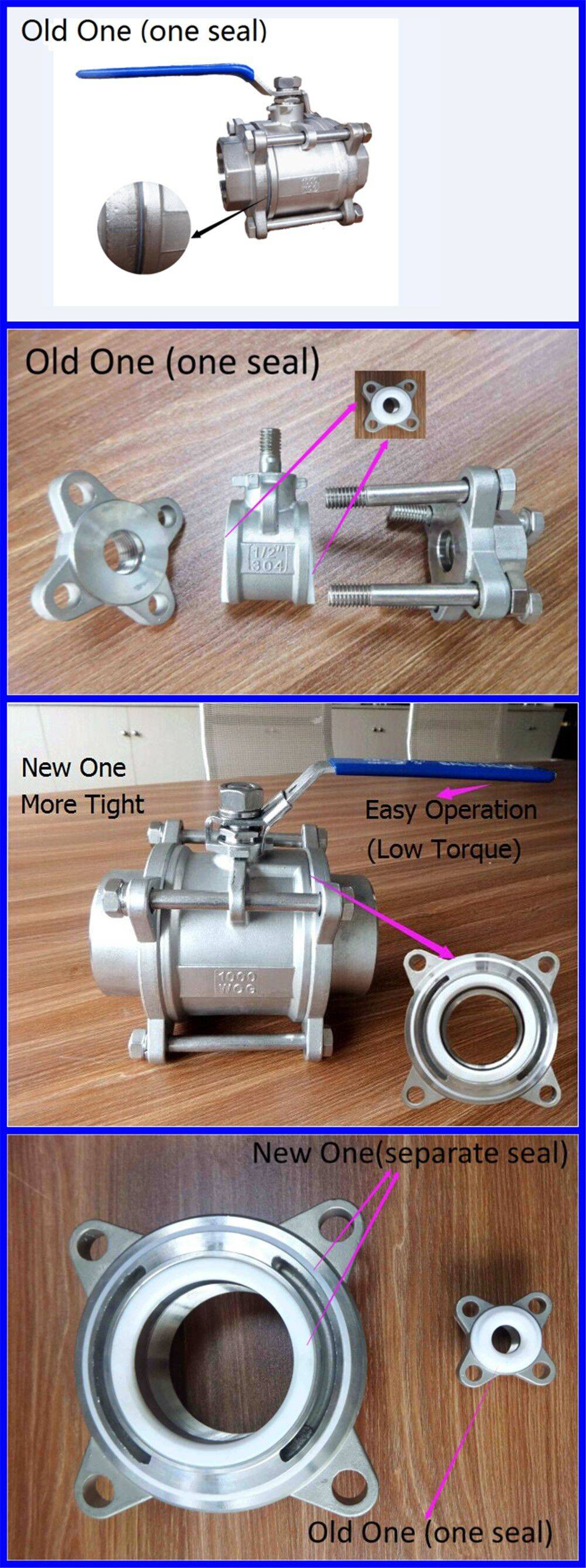 New 3PC Stainless Steel Thread ball valve With Two Seals