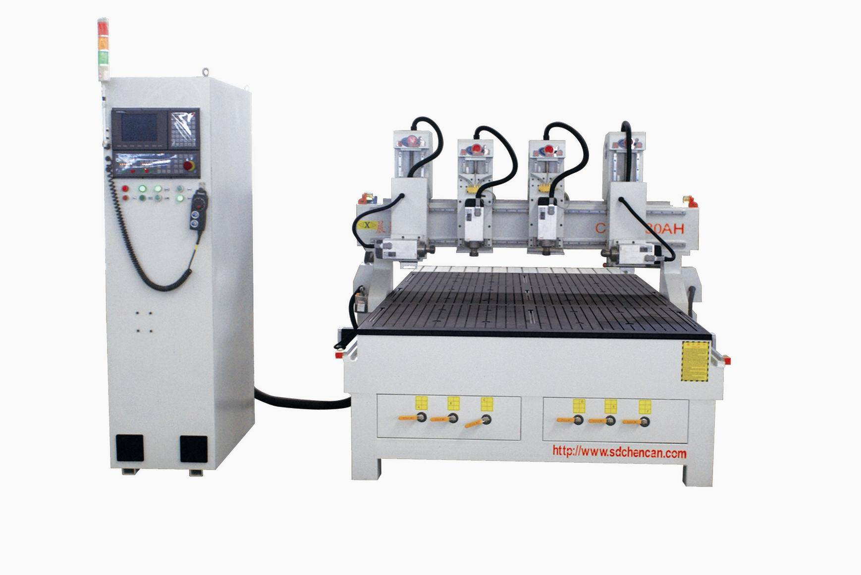 FOUR SPINDLES CNC MACHINE  WITH  TWO ROTARY HEADS