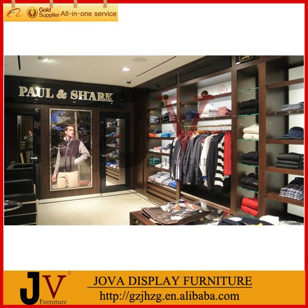 Modern design wood and metal clothes rack shop fitting