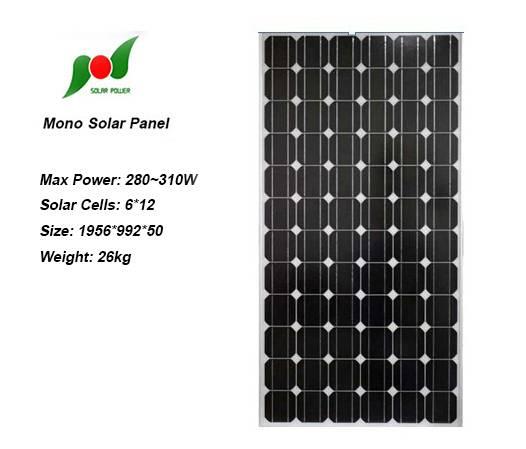 Full 280W 36V High efficiency Solar Panel for power plants
