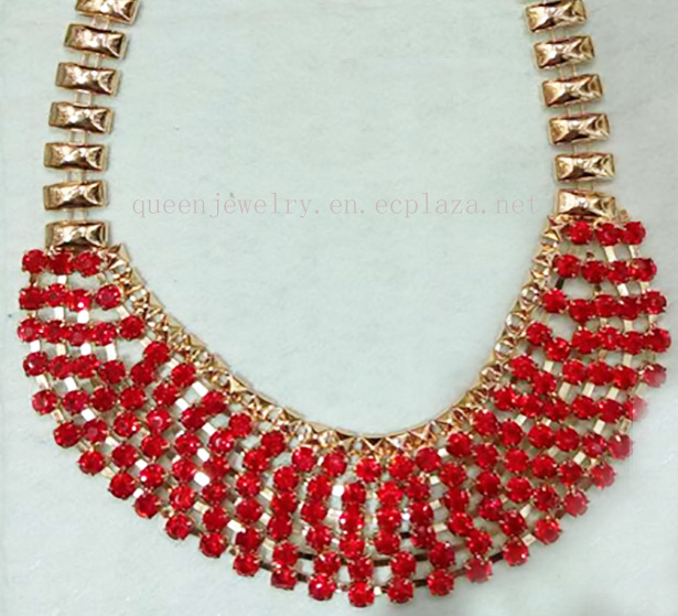 custom name necklace Mother's Day Gift Sapphire red Rhinestone Necklace Earring Set