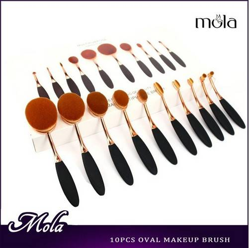 10pcs shiny golden oval shape new makeup brushes