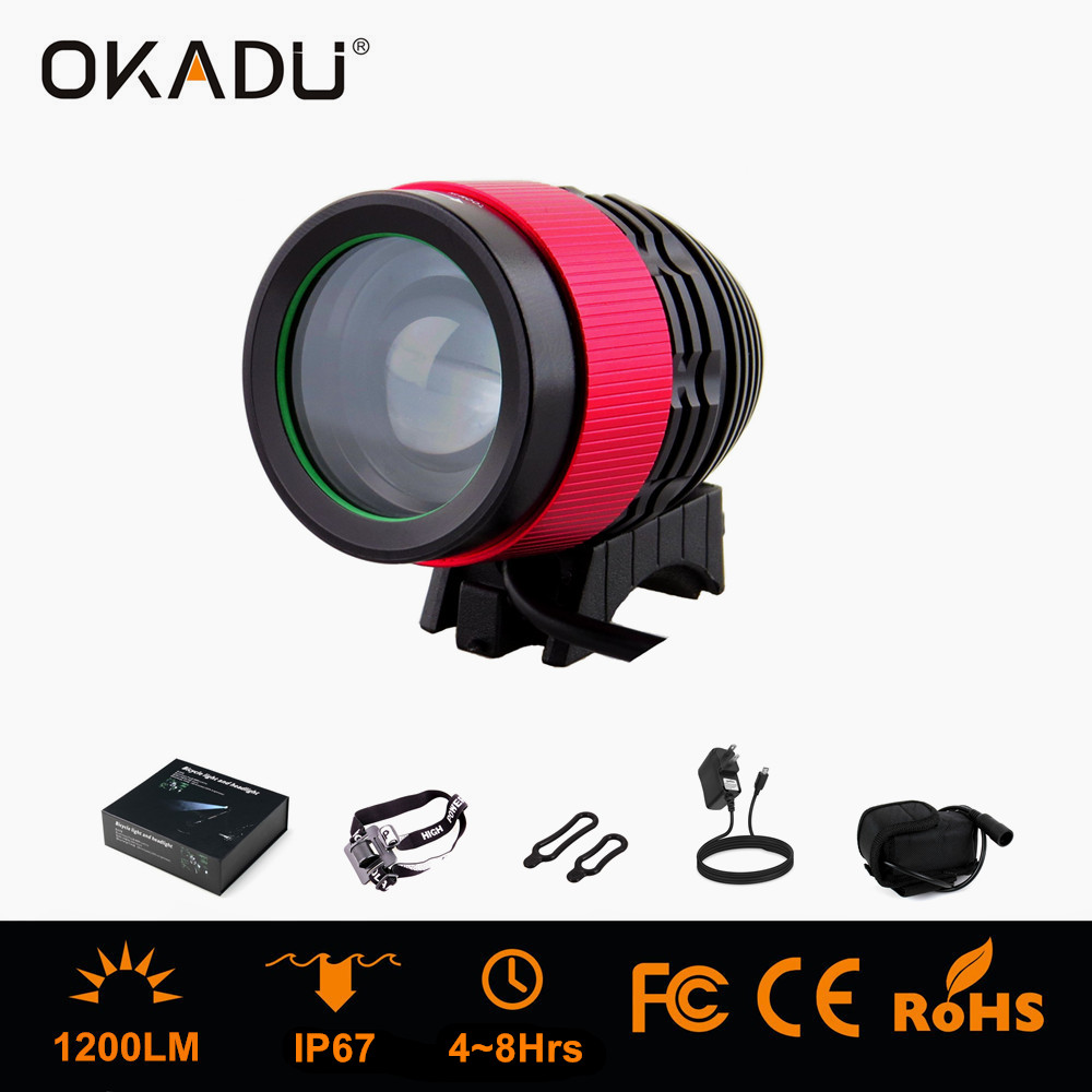 OKADU HT1F Cree XM-L T6 / U2 LED Light Source Bike Lamp Adjustable Focus LED Bicycle Head Light