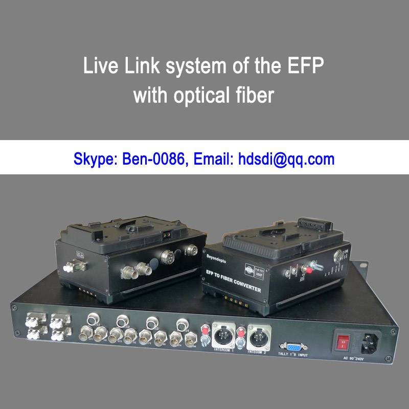 EFP to fiber system with Remote&Intercom&Tally&Return CVBS&Genlock&Ethernet