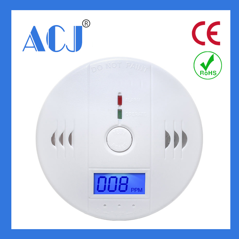 LCD Display Battery Supply Auto Carbon Monoxide Detector