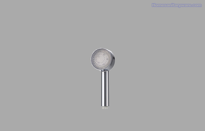 LED Handheld shower head round one colour temperature controlled one function no battery