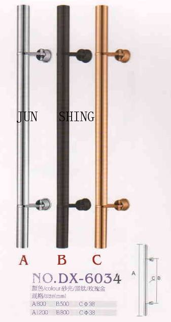 Stainless steel glass door pull long handle with two fastener dx-6034